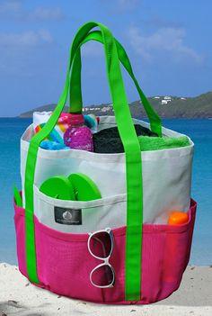 riesige Strandtasche in grellen Farben origineller Look