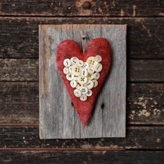 Primitive Valentine Vintage Buttons Heart by rockriverstitches, $21.00