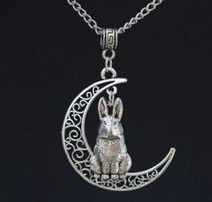 """Sterling Silver 925 Hare Pendant 18/"""" Chain Necklace Sea Gems Rabbit Lovers Gift"""