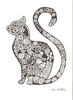Cat tattoo Cat Coloring Page, Coloring Book Art, Animal Coloring Pages, Mandala Coloring, Colouring Pages, Adult Coloring Pages, Mandala Art, Mandalas Drawing, Homemade Home Decor