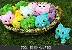 """Oh, my goodness! A basket full of tiny rolly-polly kittens delivered just in time for Christmas. I'll make one in each color and hang from the tree and gift packages!  Wouldn't they be adorably furry made from Ice Yarn """"Eyelash Duo"""". What a cute gift! ¯\_(ツ)_/¯"""