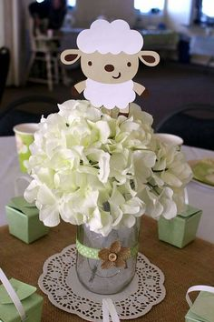Lamb Baby Shower  5 Lamb Centerpiece Stakes by LittleBitsHomemade