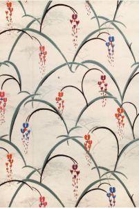 charles burchfield, design for wallpaper. 'bleeding hearts' 1929