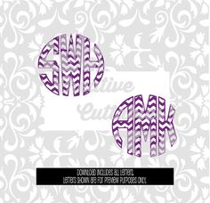 Chevron Monogram Circle Letters for  Silhouette or other craft cutters (.svg/.dxf/.eps)