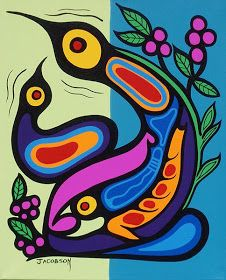 Canadian First Nations Art, Greenery Native Art Gallery Vancouver BC. First Nations Ojibway Woodland Art in the style of Norval Morrisseau by Mark Anthony Jacobson, Jim Oskineegish and Donald Peters Inuit Kunst, Arte Inuit, Inuit Art, Native Art, Native American Art, Kunst Der Aborigines, Woodland Art, Haida Art, Canadian Art