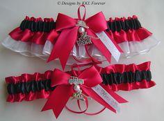 Firefighter Wedding Garters I Love My Fireman Charm Black Red and White Garter Set. $45.00, via Etsy.