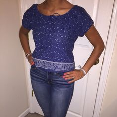Peasant blouse Navy blue  peasant blouse Tops Blouses