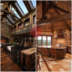 Cozy Rustic Kitchens Worthy of a Mountain Lodge | Big Chill Looking to invoke a natural sense of warmth in your own kitchen? These rustic kitchens will provide you with enough inspiration to turn your Rustic Kitchen Lighting, Rustic Kitchens, Metal Barn Homes, Rustic Fall Decor, Big Chill, Layout, Modern Rustic Interiors, Interior Decorating, Diy