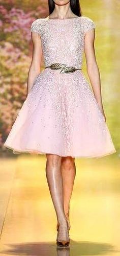 Zuhair Murad HC Spring 2014 | pink champagne a-line cocktail dress with gold leaf belt | high fashion