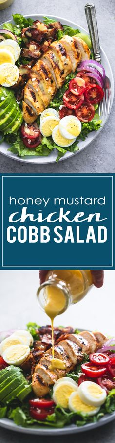 Easy and delicious honey mustard chicken cobb salad is healthy, hearty main dish salad that will leave everyone begging for more.(The dressing is delicious on broccoli grape salad also. Main Dish Salads, Dinner Salads, Healthy Salads, Healthy Eating, Healthy Recipes, Honey Mustard Chicken, Summer Salads, Soup And Salad, Salad Recipes