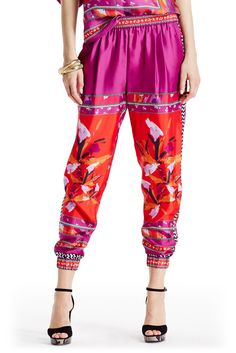 DVF Janeta Silk Track Pant in floral placement beet