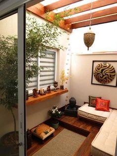 My favorite corner: 17 spaces with pergola Patio Interior, Interior Design Living Room, Interior And Exterior, Balcony Design, Home And Deco, Small Patio, Home Decor Furniture, Decoration, Small Spaces