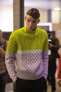 damplaundry: Adam Rawcliffe at Kenzo Homme F/W 2014, from Dazed. Colour block cabled men's sweater I know this is for men, but I love the use of colour and cable