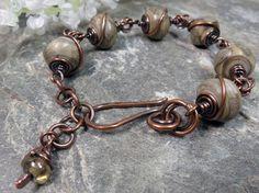 Khaki Artisan Lampwork Nuggets and Copper Wire Wrapped Rustic Bracelet by PattiVanderbloemen, $45.00