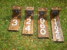 house number sign with solar lights wood grain finish time