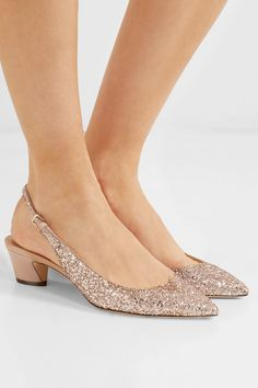 Jimmy Choo - Gemma 40 glittered leather slingback pumps. Zapatos De ... 410b2aef4f0b
