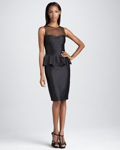 Sleeveless Cocktail Dress with Peplum by David Meister Signature at Neiman Marcus.  i like this for Erica!!! but shorter