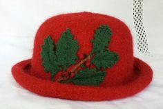 Hand Knit  Wool & Mohair Crimson Felt Hat with by FeltedFlora, $165.00