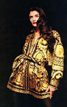 Helena Christensen wearing Versace in the 90s