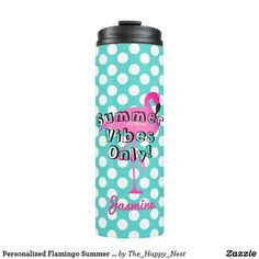 Stay hydrated while you're having fun in the sun with this cute teal and white polka dot tumbler with a popular pink flamingo. Personalize it with your name.