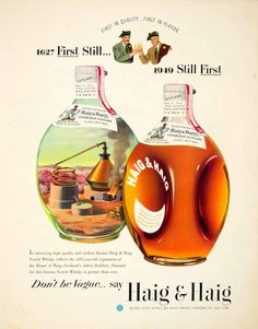 1949 Ad Haig Blended Scots Whisky Alcohol Bottle Beverage Drink Scotland Plaid #vintage #alcohol #advertising