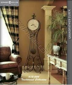 """Howard Miller 84.5"""" Vercelli Wrought Iron metal Floor Clock 615-004"""