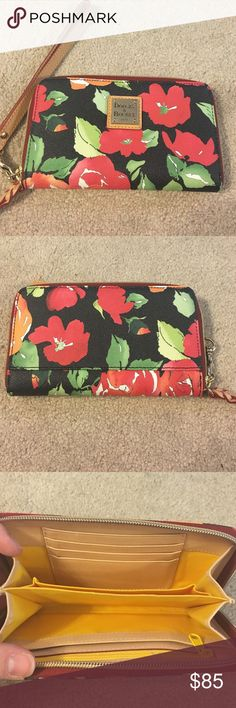 Dooney & Bourke wristlet Flowered D&B wristlet.yellow on the inside.never used and has been kept in a cloth bag.zippers work, no rips, stains, etc Dooney & Bourke Bags Clutches & Wristlets
