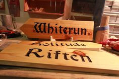 Skyrim Road Sign Any Name You Want by ElderForest on Etsy. I'm sure Jodi could do one for me...