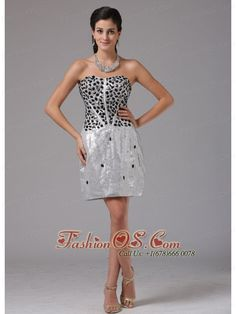 Meriden Connecticut Column Silver RhineStones Decorate Bust Prom Cocktail Dress With Mini-length  http://www.fashionos.com  Get the attention you deserve in this exquisite dress perfect for Prom, Cocktail or Homecoming. You will be the most charming queen under the spotlight! This mini-length strapless silver sequin prom dress is featured by a beaded bodice. The scattered rhinestones decorate the stunning skirt. You can't miss it.