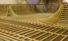 The structural frame work was built on site for the bowl at mags on ramps. Limited access to the building meant that pre-assembly of any modules at the factory was not possible. The construction of the bowl utilises similar methods to boat building with CNC routed formers or ribs and timber spars.