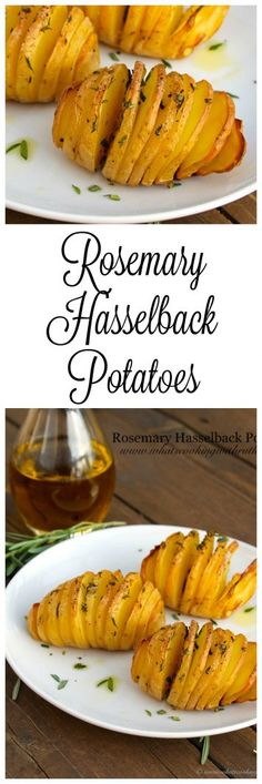 Rosemary Hasselback Potatoes with a video demonstrating the technique. Gold Potato Recipes, Roasted Potato Recipes, Veggie Recipes, Great Recipes, Favorite Recipes, Dried Potatoes, Rosemary Potatoes, Hasselback Potatoes, Friend Recipe