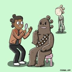 """""""Chewie and Finn trying out Rey's triple buns."""" 