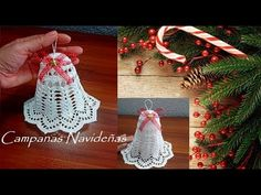 How To Crochet Christmas Bells - Crochet Ideas Crochet Christmas Ornaments, Christmas Crochet Patterns, Crochet Snowflakes, Christmas Bells, Christmas Angels, Crochet Doilies, Crochet Flowers, Christmas Crafts, Christmas Decorations