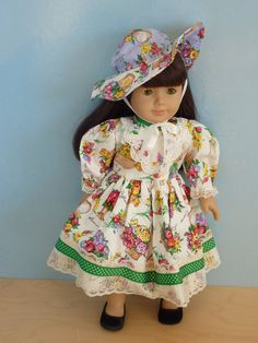 """American Girl Doll Clothes - Antique Flower Basket , 2-Piece Doll Outfit. Handmade by The Trendy Doll for 18"""" American Girl Doll. $23.00, via Etsy."""
