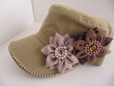 Khaki Hat, Military Cadet Hat, Woman Hat, Girls Hat, Flowers, Women Cadet Caps, Rhinestone Cadet Cap, Teens, Girls on Etsy, $23.00