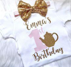 Tea party birthday outfit, girls birthday outfit, 1st birthday outfit, tea party shirt, birthday shirt, girls birthday shirt, tea party by PerfectlyPINKBow on Etsy https://www.etsy.com/listing/591223640/tea-party-birthday-outfit-girls-birthday