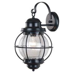 Elton Large 1-light Black Outdoor Wall Lantern | Overstock.com Shopping - Big Discounts on Wall Lighting