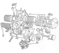 Exploded view of a Citroën 2 CV engine