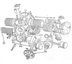 54 Best Harley Davidson Engine Blueprint Drawing Print