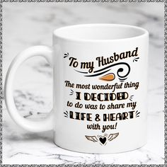MKTee Husband Mug Love Quote Funny Quote Share My Life And Heart Ceramic Coffee Mug Tea Cup
