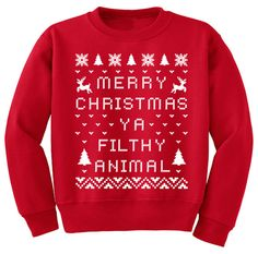 Merry Christmas Ya Filthy Animal. UGLY CHRISTMAS SWEATER. Crewneck Sweatshirt funny hipster retro movie contest party humorous red on Etsy, $20.00
