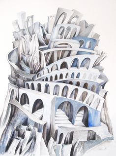 Tecla Architecture Concept Diagram, Amazing Architecture, Invisible Cities, Fantasy Inspiration, Abstract Art, Watercolor, Drawings, Creative, Illustration