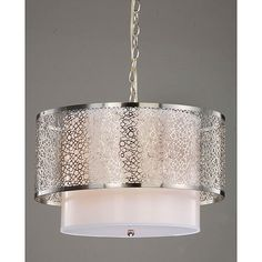 Brighten up your room with this three-light stain nickel chandelier. The contemporary chandelier features a beautiful white fabric shade under a decorative metal shade with an intricate circular pattern that makes this shade the focal point of any room.