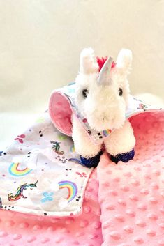 """One-of-a-kind cuddly unicorn lovey with her very own minky and flannel """"cape""""