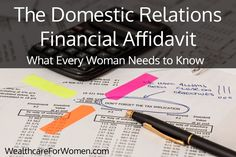 The Domestic Relations Financial Affidavit - What Every Woman Needs to Know
