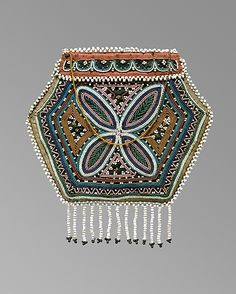 Flat bag,1800–1820, Canada, Quebec or Canadian Micmac or Iroquois, Wool, cotton, silk, glass, brass. In the collection of the Met