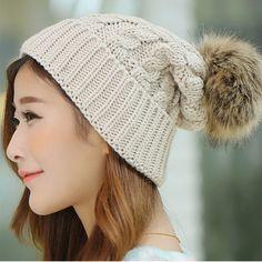 42063262e7c Women s Cap Beanie Knitted Hats Crochet Winter Hats For Women Female Cute  Casual Fur Pompom Beanies