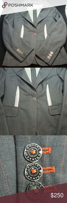 MOSCHINO JACKET This Hip Moschino Jacket is Dark Grey with Red Pinstripe and Red Detailed Stich Along the Front Edges and Pockets. Front Button and Sleeve Buttons Say Social Drinker. Moschino  Jackets & Coats