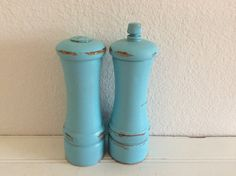 Vintage Wooden Pepper Mill And Salt Shaker by mushroommary