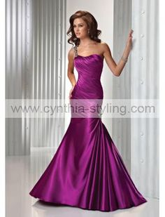 Simple violet purple one-shoulder ruched trumpet evening prom formal ball dress gown P2421_ - Cynthia Prom Gown Online Shop